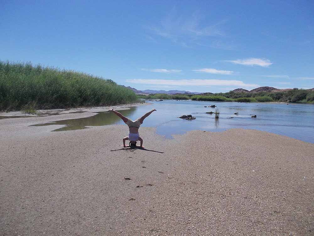Handstands on the riverbed